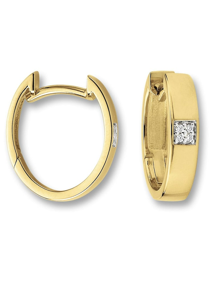 One Element Damen Schmuck Ohrringe / Ohrstecker aus 585 Gelbgold mit 0,03 ct Diamant, gold