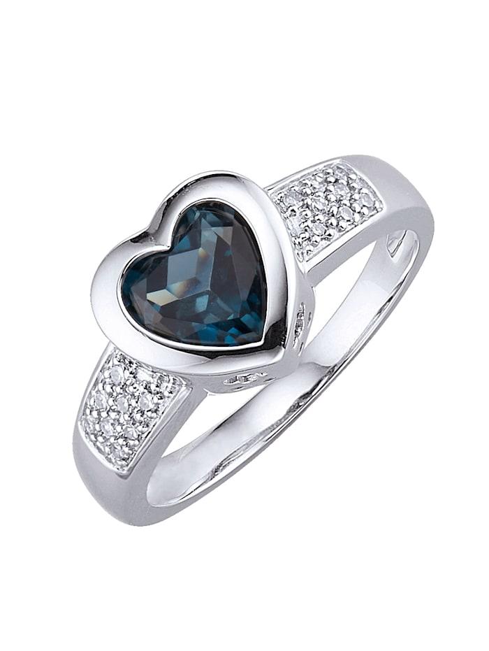 Diemer Platin Ring med hjärta av blå topas, Silvergrå