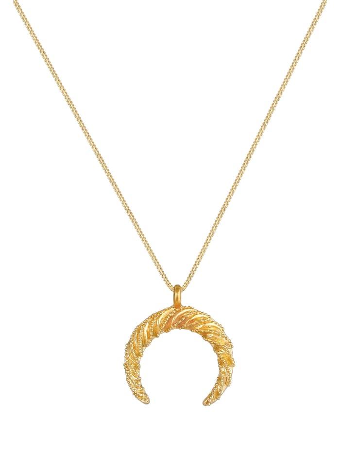 Halskette Sichel Halbmond Gedreht Verziert 925 Silber