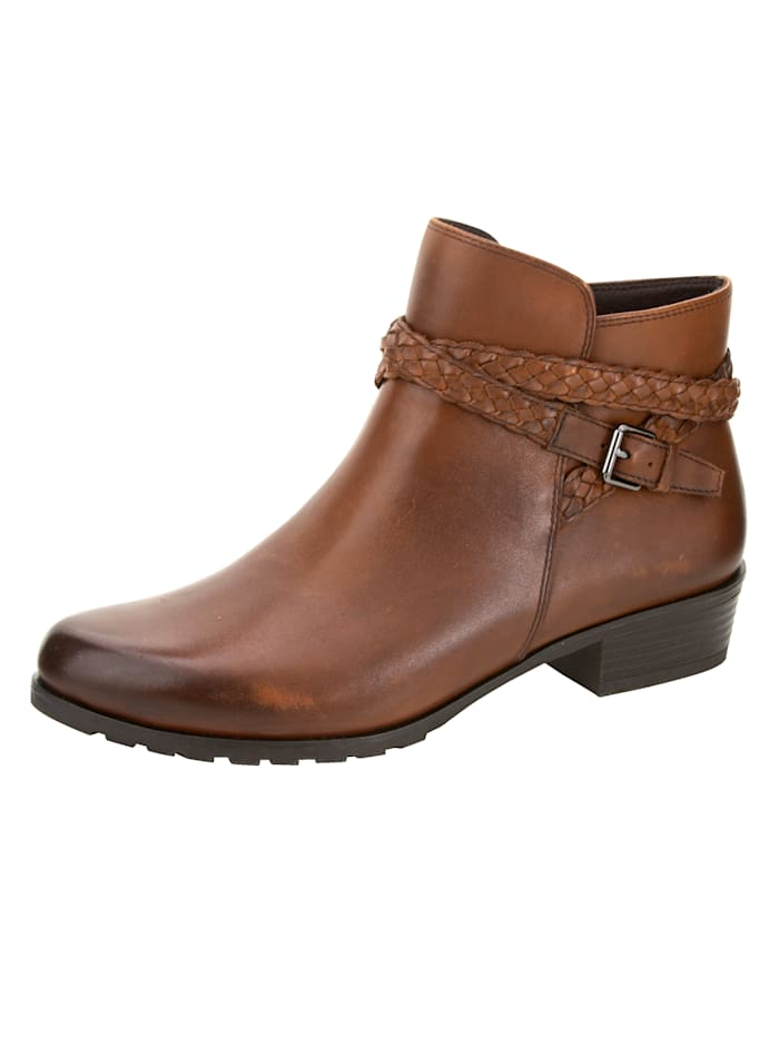 Caprice Ankle boots made from supple Nappa leather, Cognac