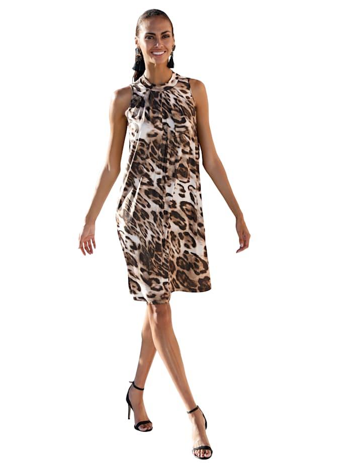 AMY VERMONT Jerseykleid mit goldfarbenem Foliendruck, Braun/Beige
