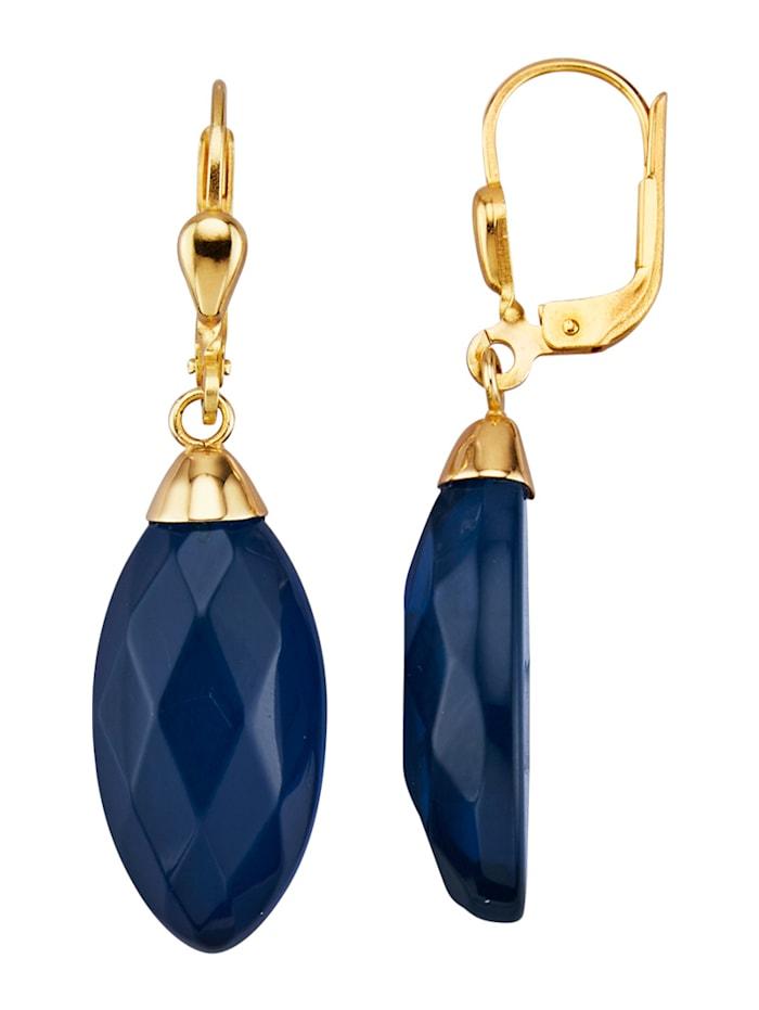 Diemer Farbstein Bernstein-Ohrringe mit blauem Bernstein (beh.), Blau