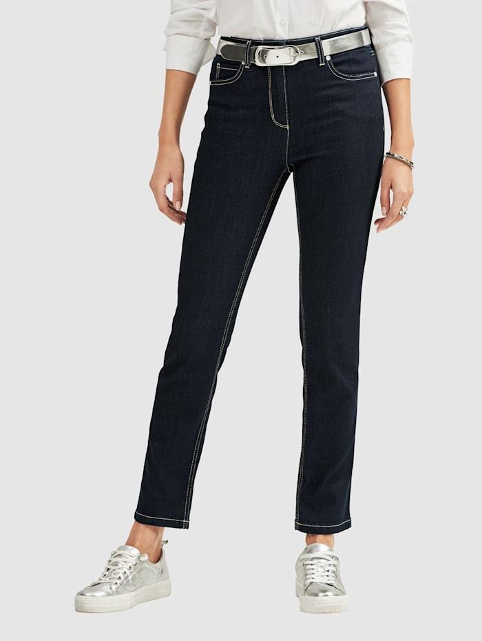 MONA Jeans in 5-pocketmodel, Donkerblauw