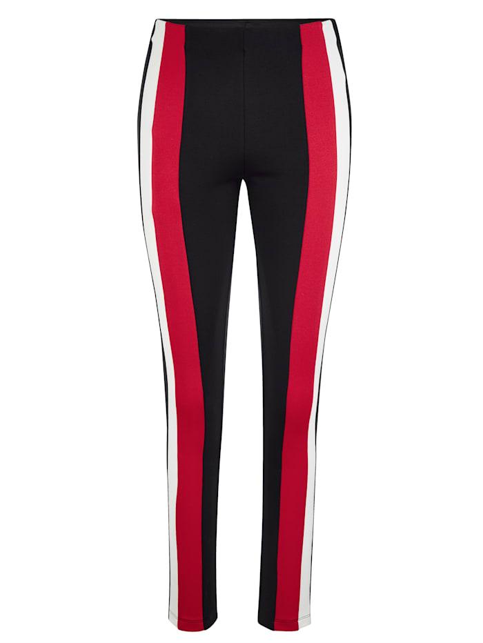 AMY VERMONT Leggings mit Streifen, Schwarz/Rot/Weiß