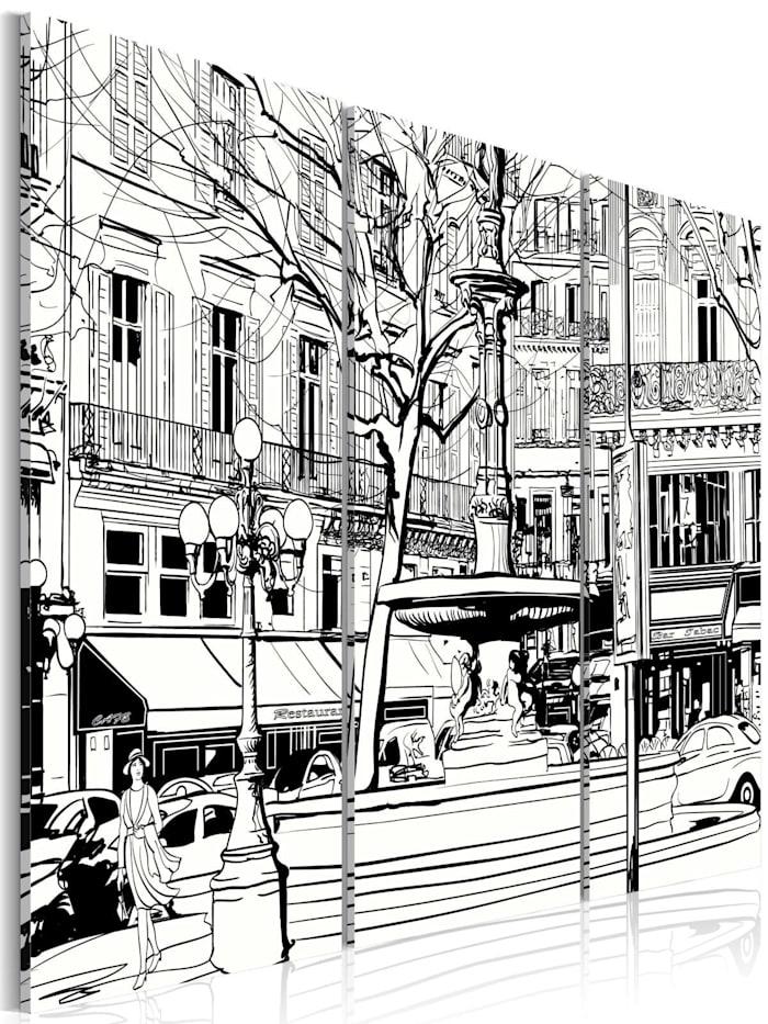 artgeist Wandbild Skizze eines Pariser Platzes, schwarz-weiß
