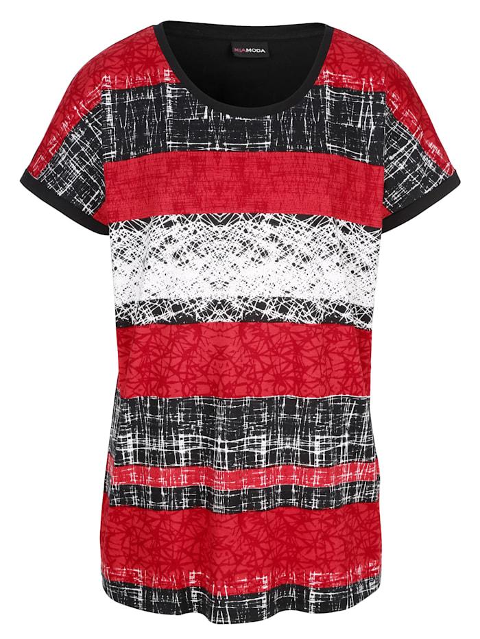 MIAMODA Shirt mit platziertem Druck, Schwarz/Rot/Weiß