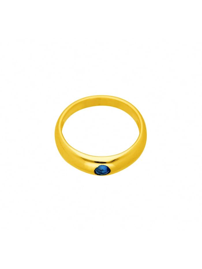 1001 Diamonds Damen Goldschmuck 585 Gold Anhänger Taufring mit Safir Ø 11,2 mm, blau