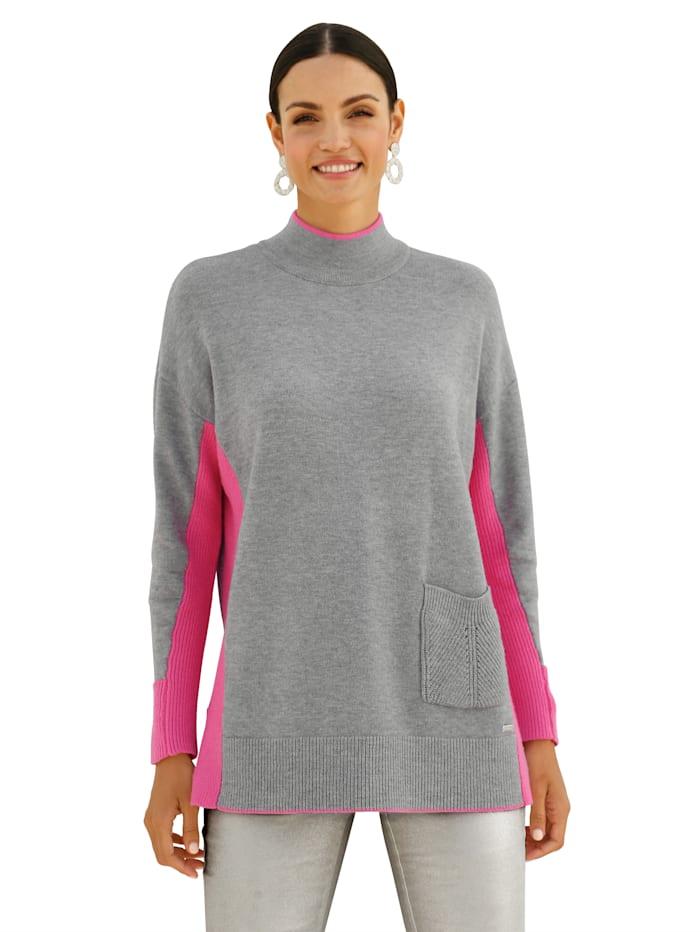 AMY VERMONT Pullover mit neonfarbenen Akzenten, Grau/Pink