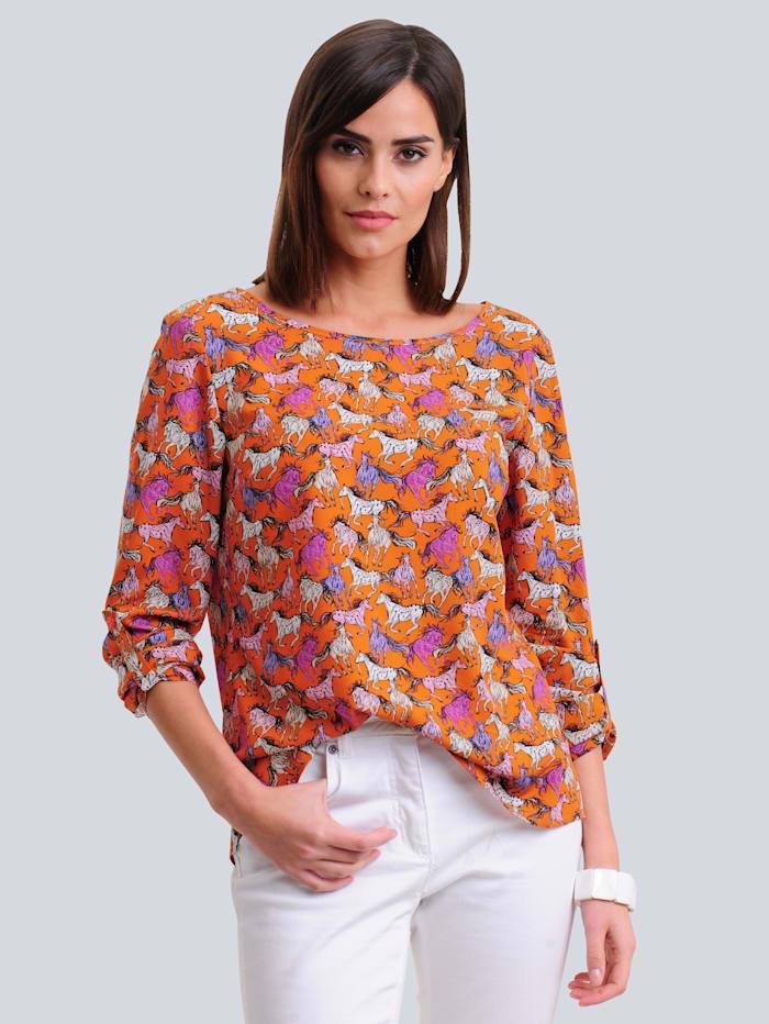 Alba Moda Bluse mit allover Motiv-Print, Orange/Pink