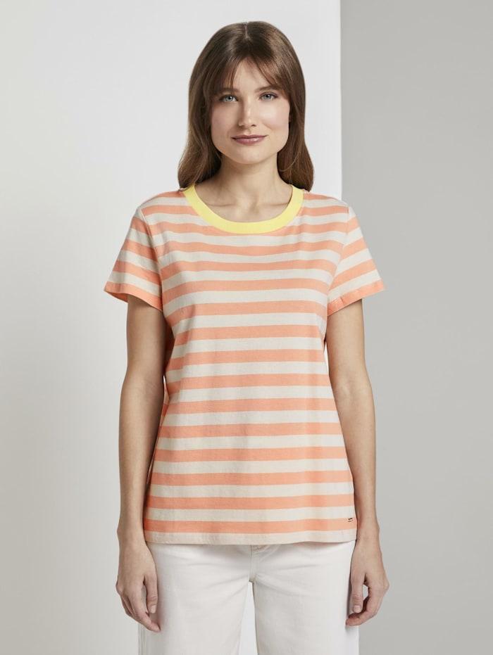 Tom Tailor Denim Gestreiftes T-Shirt mit Bio-Baumwolle, papaya white stripe