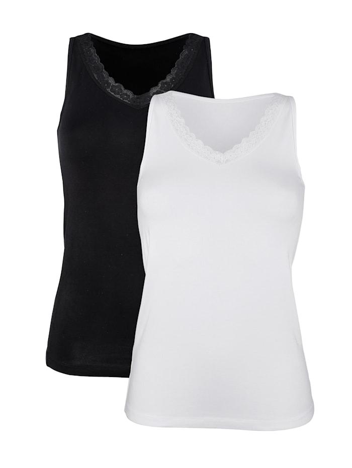 Harmony Achselhemden mit Spitze am V-Ausschnitt, Weiß/Schwarz