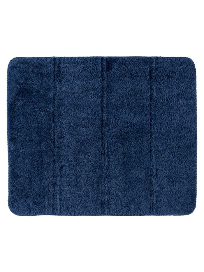 Wenko Badteppich Steps Marine Blue, 55 x 65 cm, 55 x 65 cm, Mikrofaser, Polyester/Mikrofaser: Blau