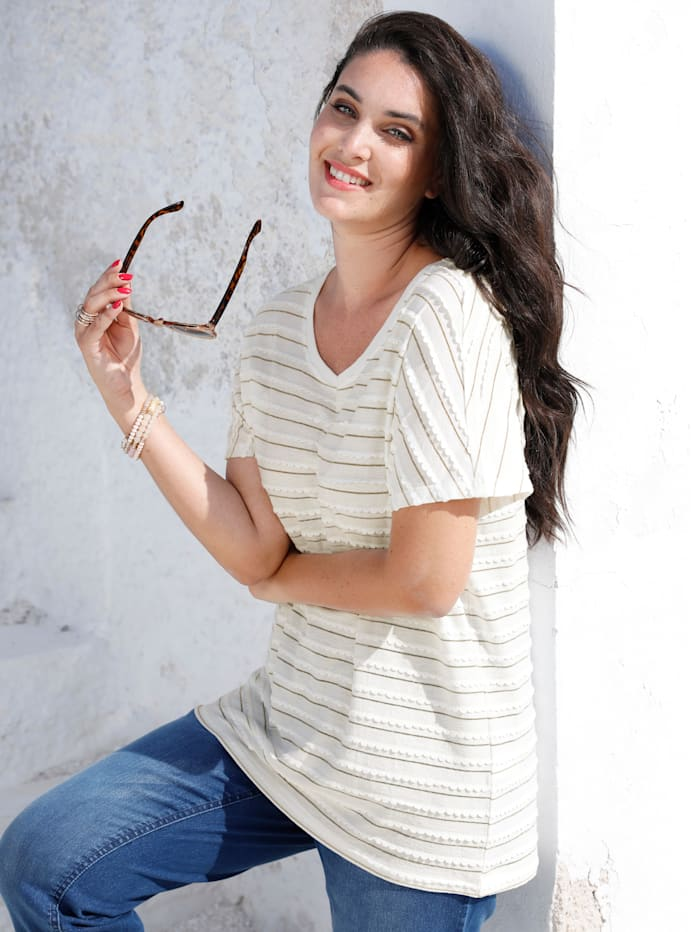 MIAMODA Shirt mit Effektgarn, Creme-Weiß