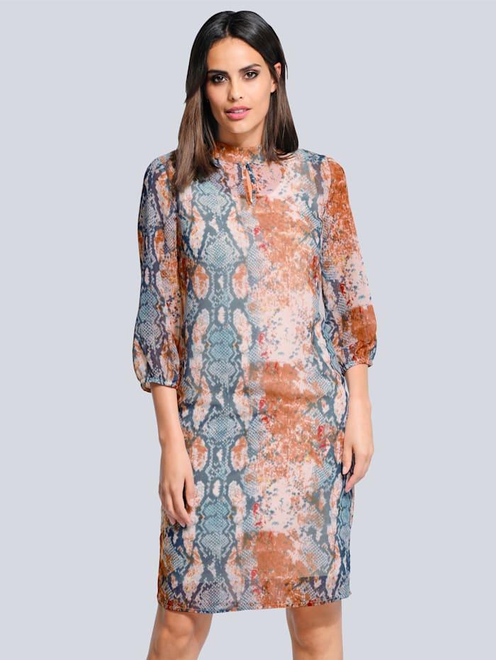 Alba Moda Šaty s exkluzivním potiskem, Modrá/Béžová