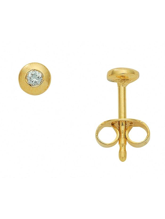 1001 Diamonds Damen Goldschmuck 585 Gold Ohrringe / Ohrstecker mit Brillant Ø 4,2 mm, gold