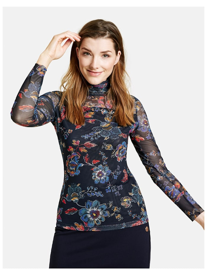Mesh-Shirt mit Flower-Print