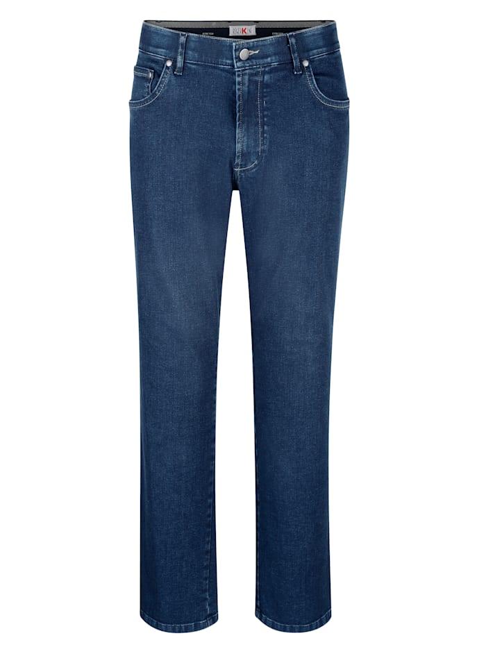 Roger Kent 5-pocketjeans met comfortabele elastische band binnenin, Blue stone