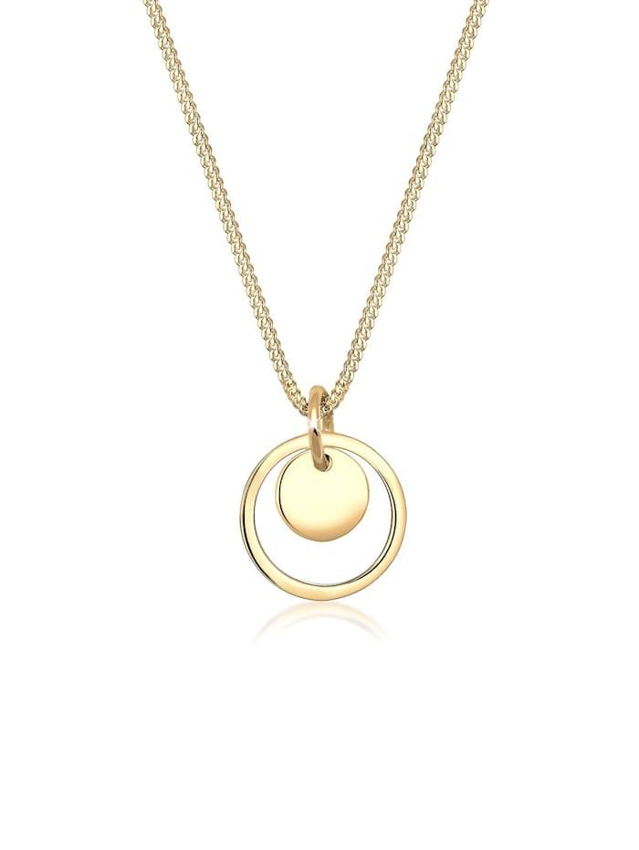 Elli Halskette Kreis Rund Geo Trend 925 Sterling Silber, Gold