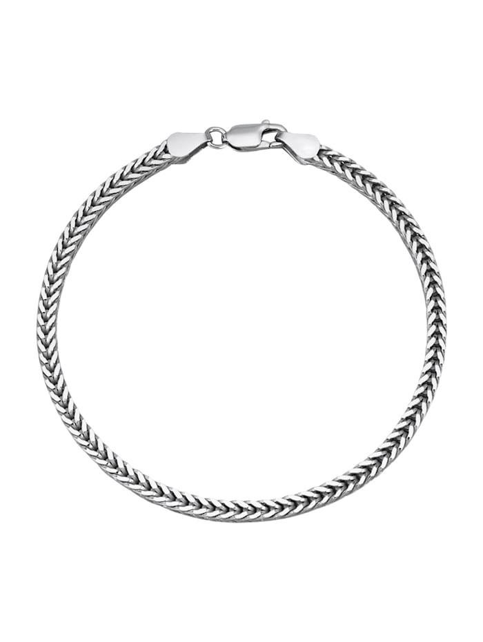 Vossenstaart armband van gerodineerd zilver, Zilverkleur