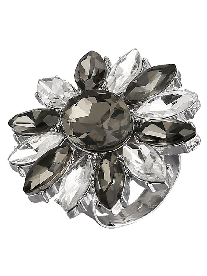 Love Inspiration Damenring mit Glassteinen, Schwarz/Weiß