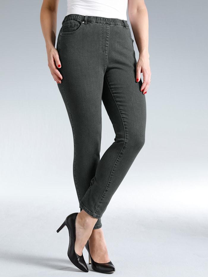 MIAMODA Jeggings mit schönen Schleifen am Beinabschluss, Grey