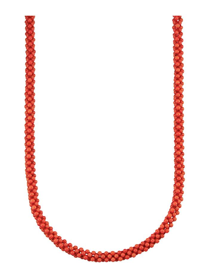 Diemer Farbstein Korallen-Kette in Silber 925, Rot
