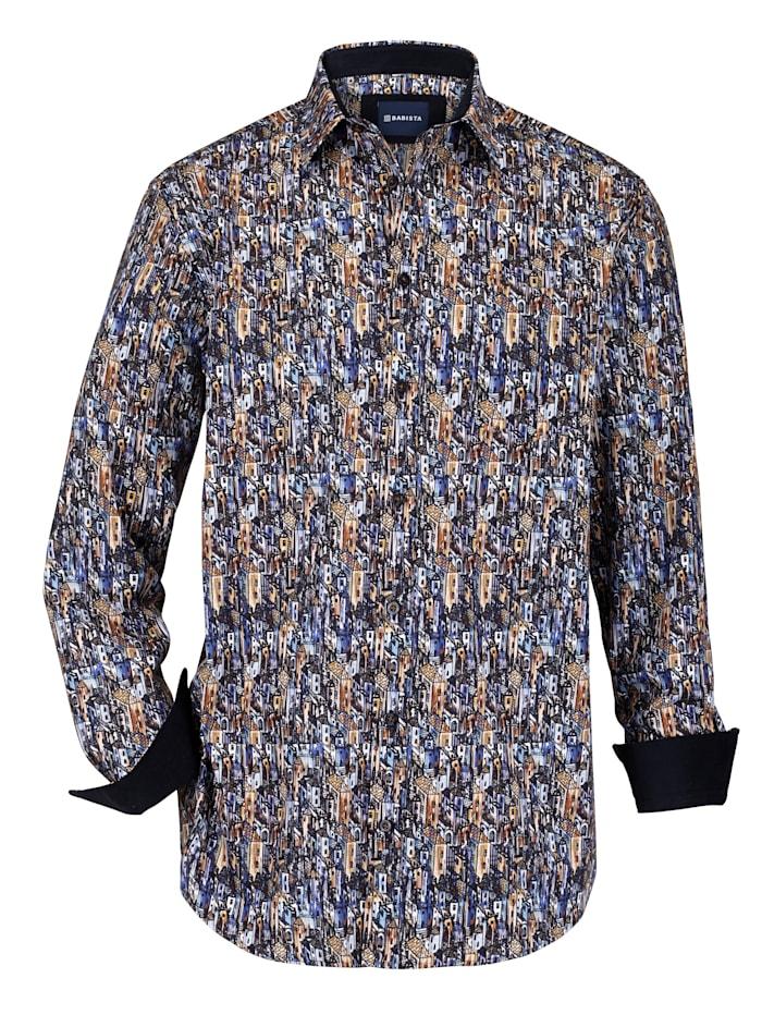 BABISTA Overhemd met kraag met beleg van ribcord, Blauw/Cognac