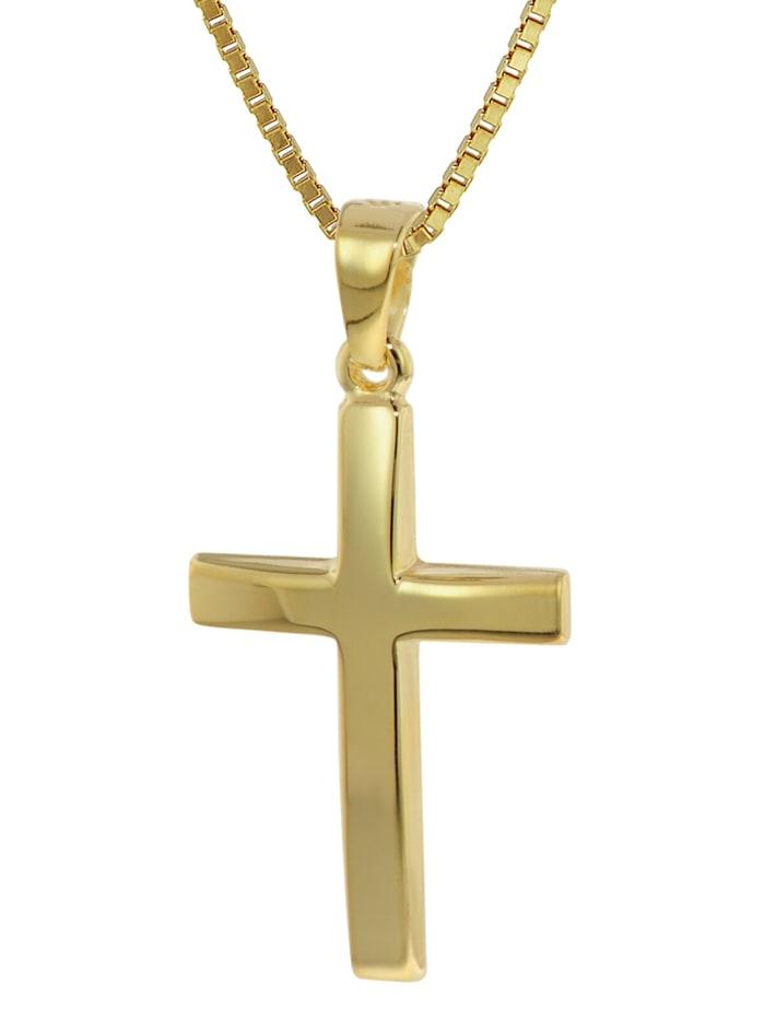 trendor Kreuz Anhänger Gold 333 (8 Karat) mit goldplattierter Kette, Goldfarben