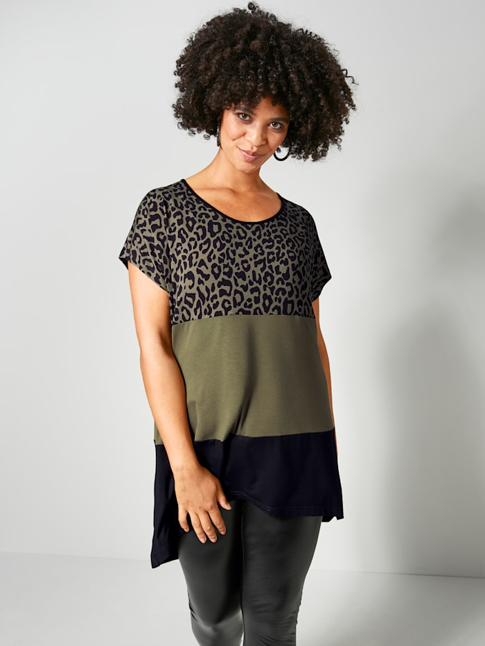 Angel of Style Shirt met blokstrepen, Kaki/Zwart
