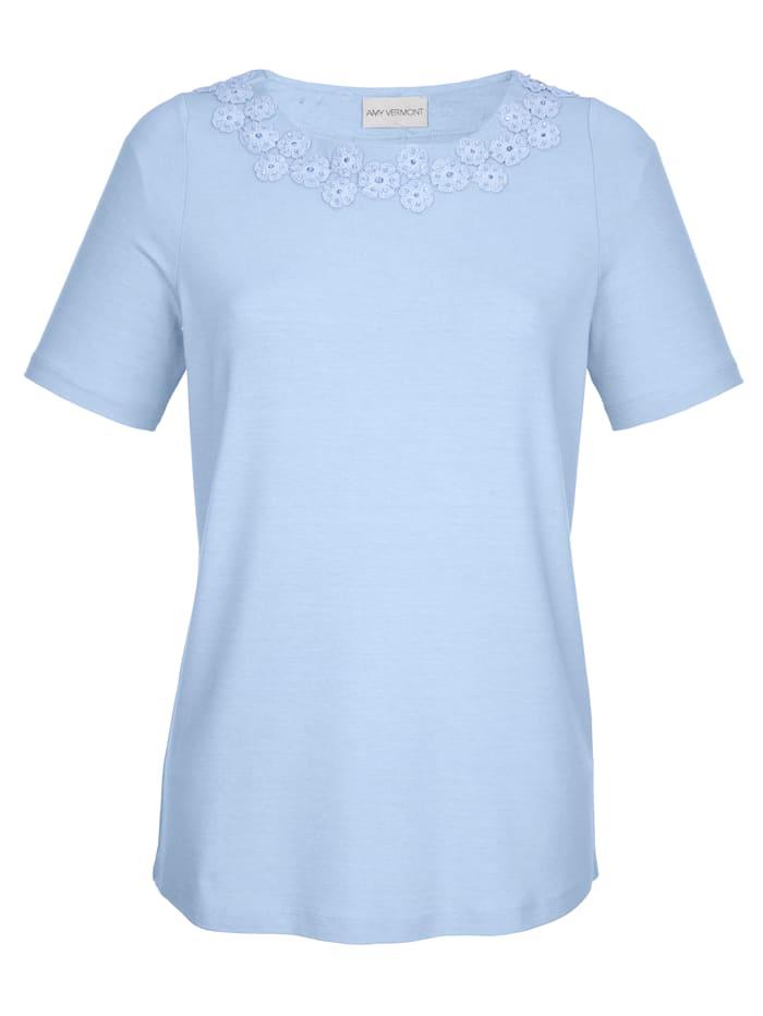 Shirt met bloemenapplicatie en kraaltjes