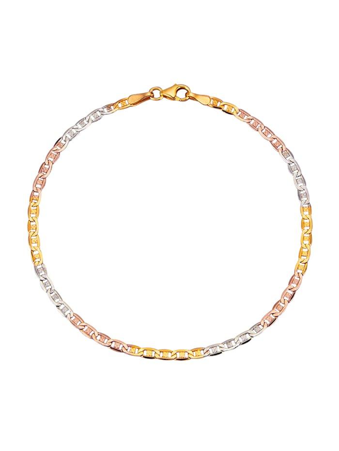 Stegpanzerarmband in Gelbgold 375, Multicolor