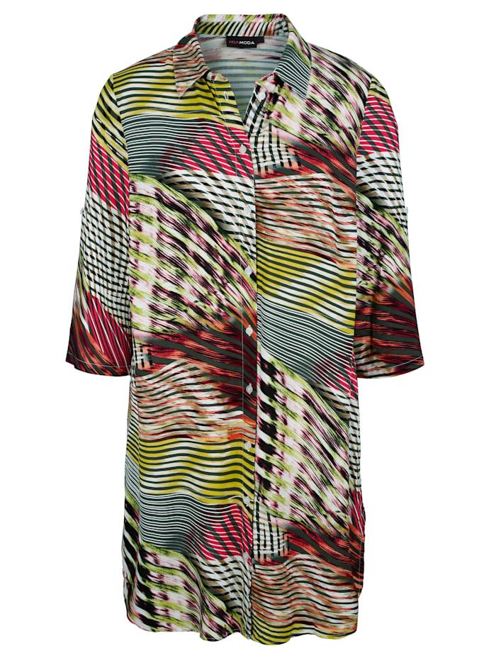 MIAMODA Lang bluse med oppbrettermer, Multicolor