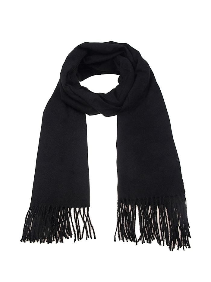Leslii Schal mit modischen Fransen, schwarz