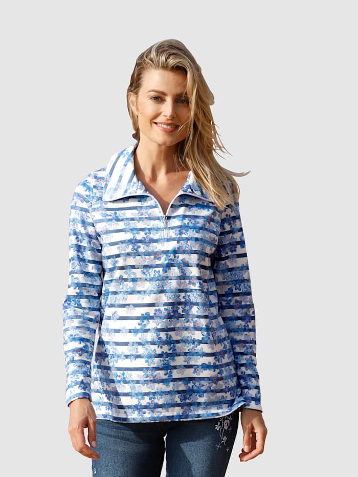 basically you Sweat-shirt à motif rayé et floral, Blanc