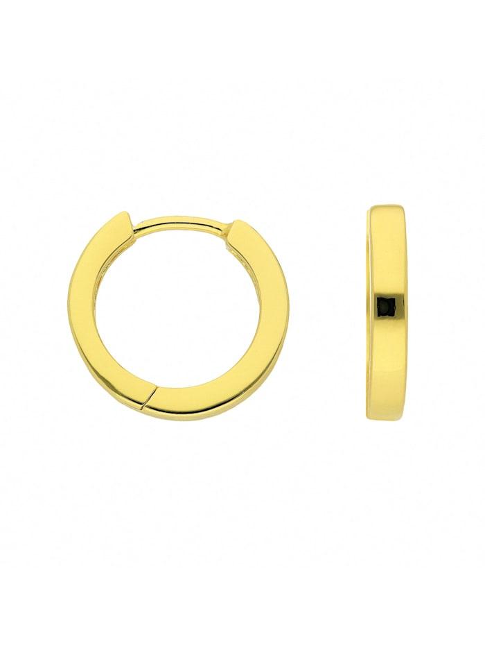 1001 Diamonds Damen Silberschmuck 925 Silber Ohrringe / Creolen Ø 15,2 mm, vergoldet