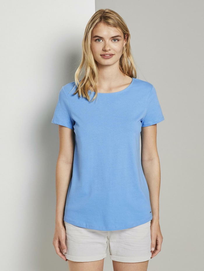 Tom Tailor Denim T-Shirt mit Rückendetail, fresh mid blue