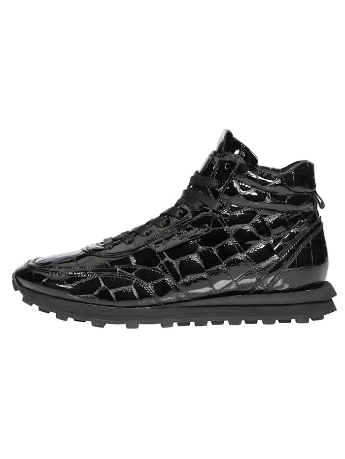 Sneakers montantes en cuir verni reliéfé