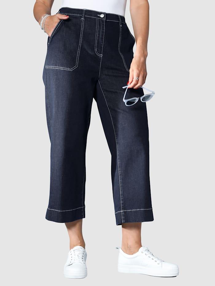 MIAMODA Džínsy-Culotte s kontrastným šitím, Dark blue