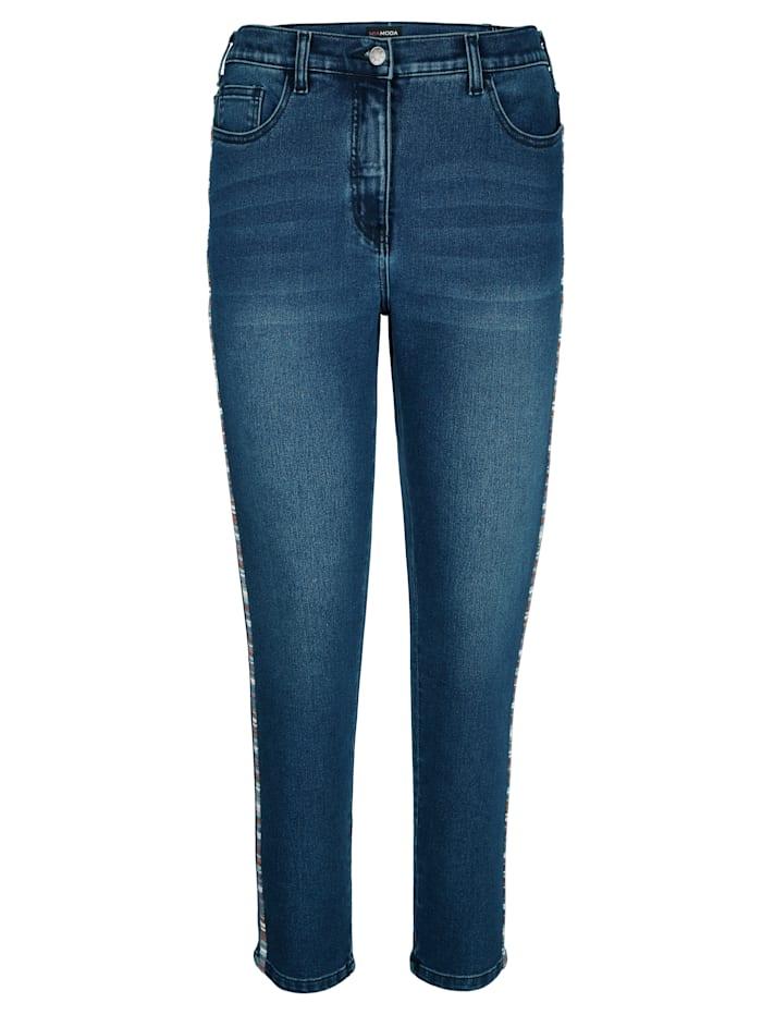 Jeans met decoratief tape opzij