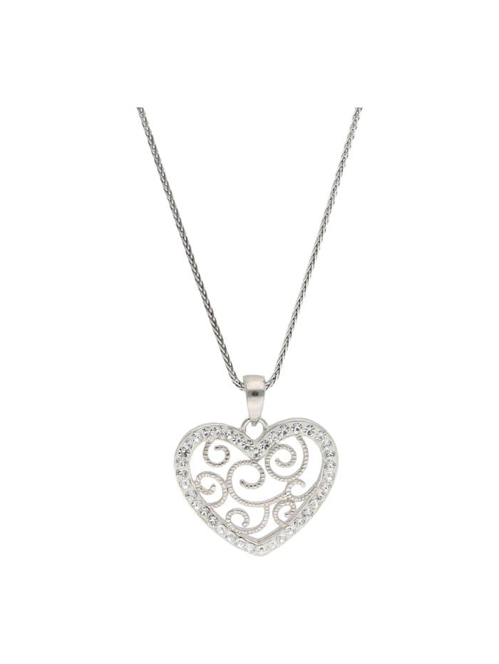 Smart Jewel Kette Herz-Anhänger mit Kristallsteine, Silber 925, Weiss