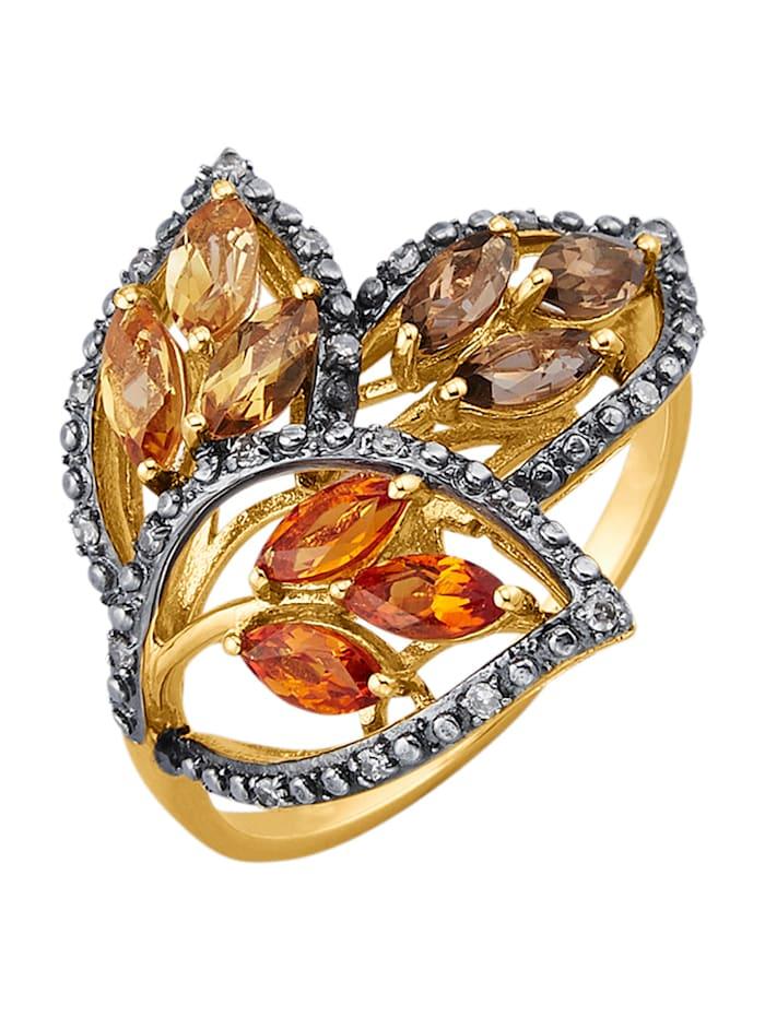 Diemer Farbstein Blatt-Ring mit Farbsteinen und braunen Diamanten, Multicolor