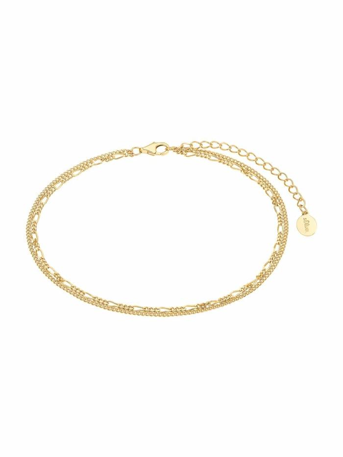 s.Oliver Fußkette für Damen, Teenager, Silber 925 vergoldet, Gold