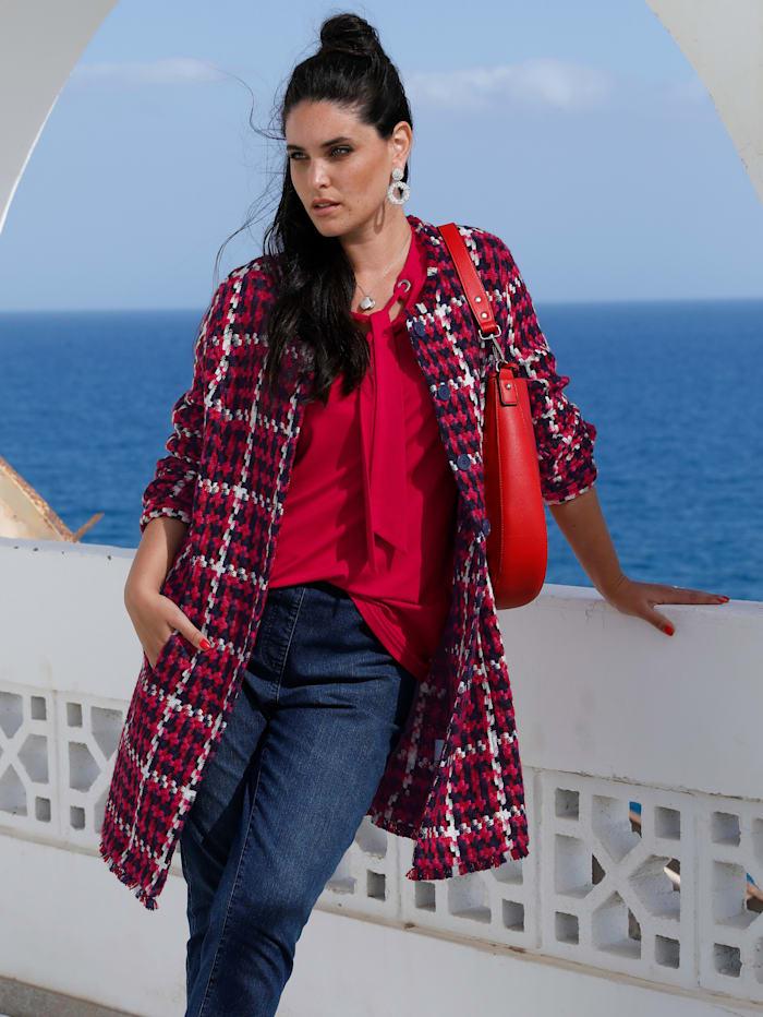 MIAMODA Veste longue d'aspect tweed, Marine/Rouge/Rose vif