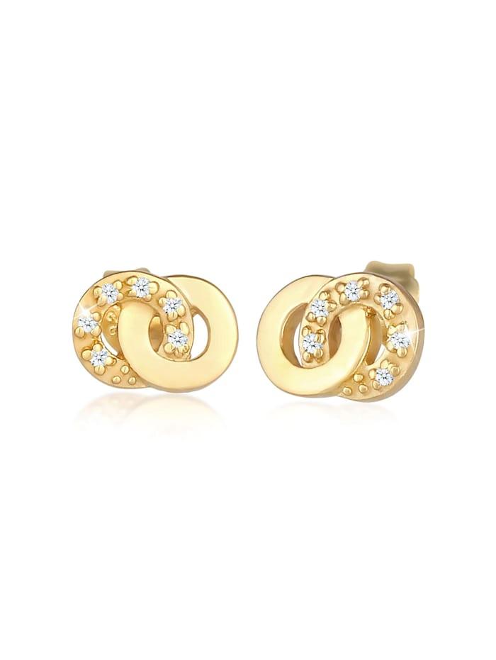DIAMORE Ohrringe Stecker Infinity Diamanten (0.06 Ct) 375 Gelbgold, Gold