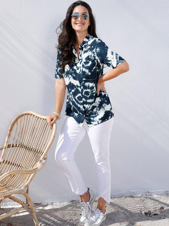 MIAMODA Bluse mit modischem Batikdruck, Blau/Weiß