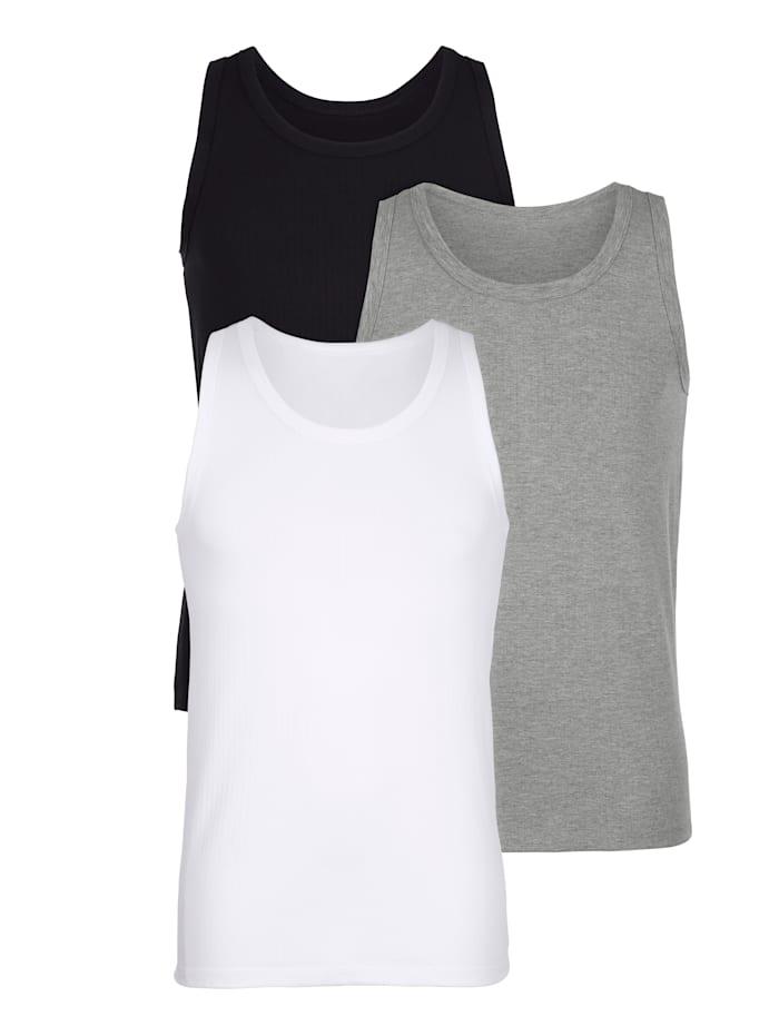 BABISTA Achselhemden mit Nadelzug, Weiß/Schwarz/Grau