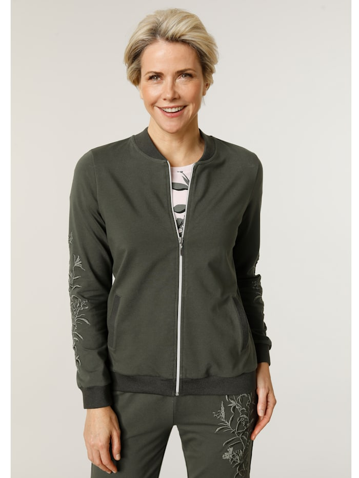 MONA Sweatjacke in Blousonform, Oliv