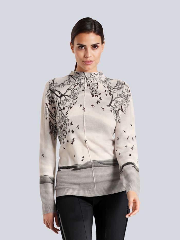 Alba Moda Pullover aus reinem Kaschmir, Off-white/Grau/Schwarz