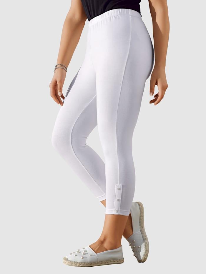 MIAMODA 7/8-leggingsit lahkeensuissa koristenappeja, Valkoinen