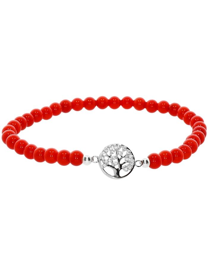 1001 Diamonds Baum des Lebens Koralle Armband 925 Silber 17 cm, rot